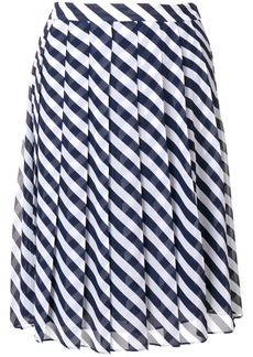 Michael Michael Kors striped pleated skirt - White