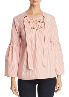 MICHAEL Michael Kors Striped Poplin Lace-Up Bell-Sleeve Top