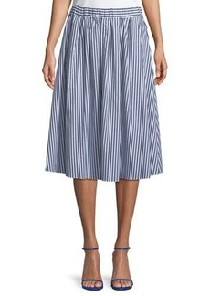 MICHAEL Michael Kors Striped Pull-On Midi Skirt