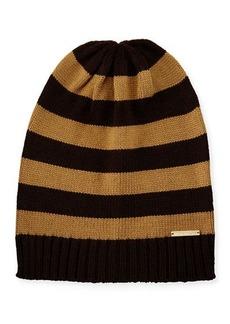 MICHAEL Michael Kors Striped Ribbed-Trim Slouchy Hat