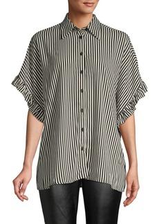 MICHAEL Michael Kors Striped Ruffle-Sleeve Top