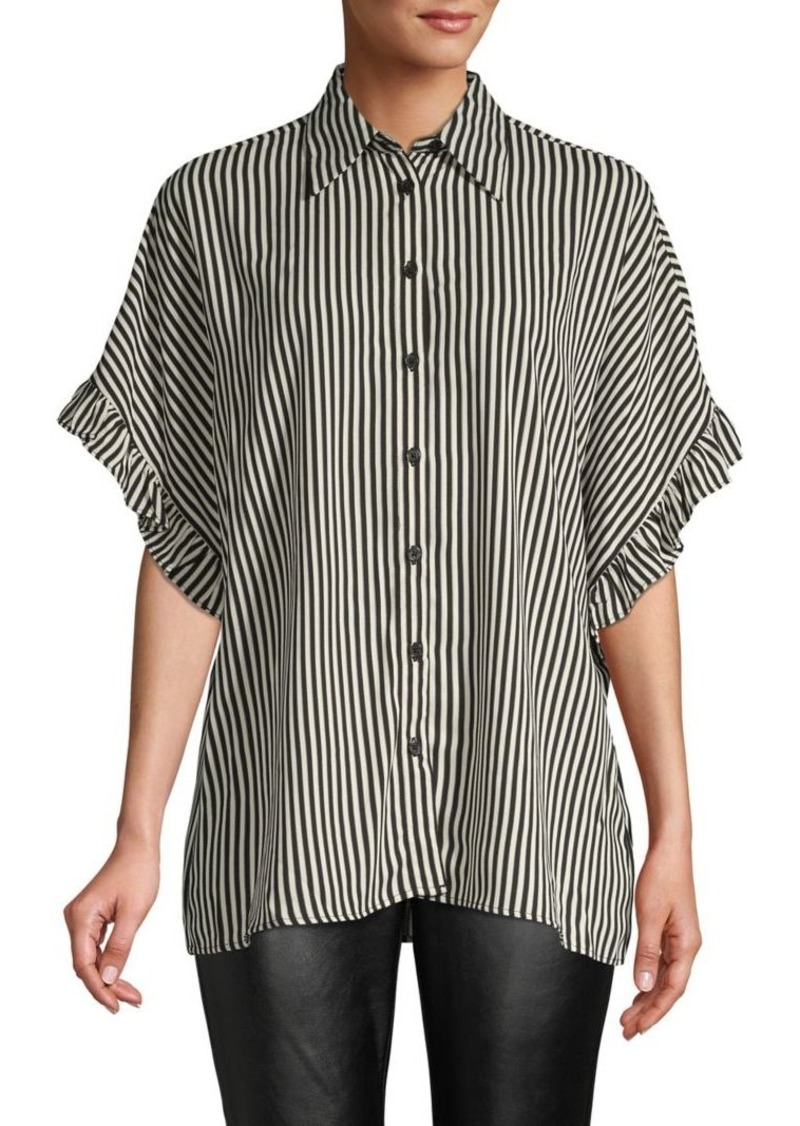 MICHAEL Michael Kors Striped Ruffle-Sleeve Top