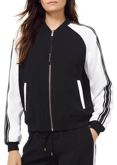MICHAEL Michael Kors Striped Sleeve Bomber Jacket