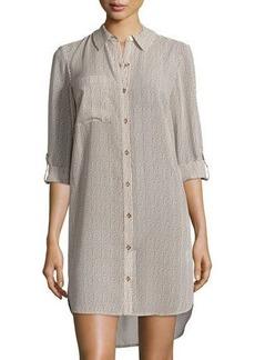 MICHAEL Michael Kors Striped Tab-Sleeve Tunic Shirtdress