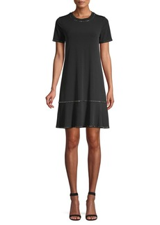 MICHAEL Michael Kors Stud Trim Short-Sleeve Flounce Dress