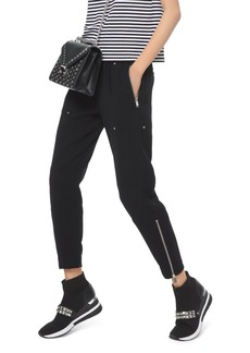 MICHAEL Michael Kors Studded Cropped Zip-Hem Pants