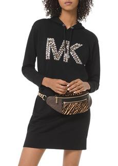 MICHAEL Michael Kors Studded Leopard-Logo Hoodie Dress