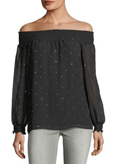 MICHAEL Michael Kors Studded Off-The-Shoulder Blouse