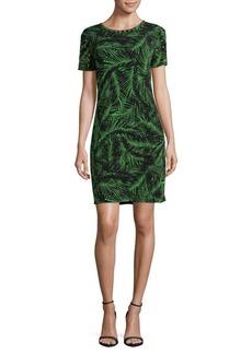 MICHAEL MICHAEL KORS Studded Palm-Print Sheath Dress