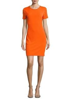 MICHAEL MICHAEL KORS Studded Short-Sleeve Sheath Dress