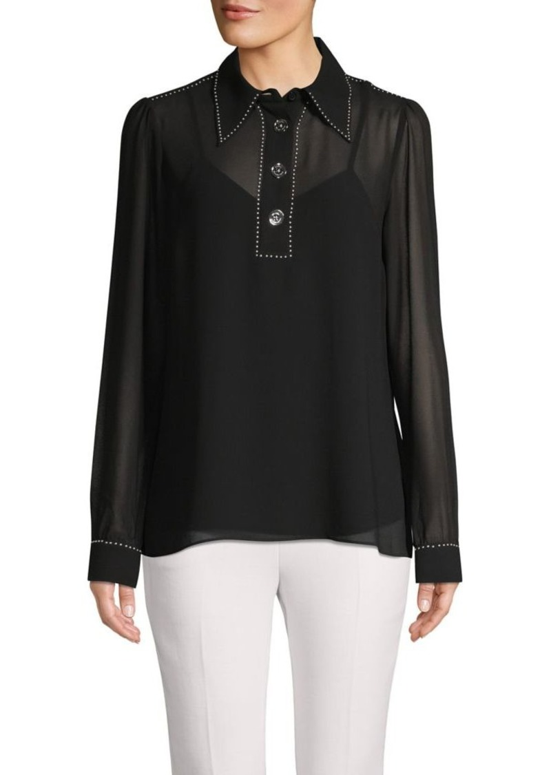 MICHAEL Michael Kors Studded-Trim Long-Sleeve Top