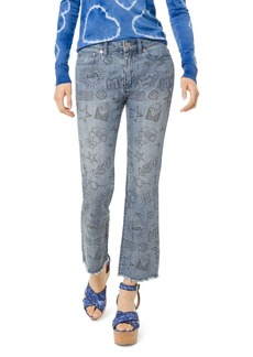 MICHAEL Michael Kors Summer Camp High Rise Cropped Flared Graphic Jeans in Light Vintage Wash