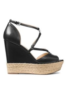 MICHAEL MICHAEL KORS Terri Leather Espadrille Wedge Sandals