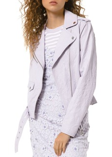 MICHAEL Michael Kors Textured Leather Moto Jacket