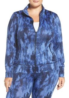 MICHAEL Michael Kors Tie Dye Twill Print Zip Front Active Jacket (Plus Size)