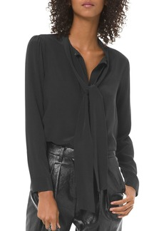 MICHAEL Michael Kors Tie-Neck Front-Button Blouse
