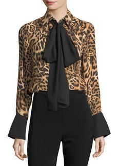 MICHAEL Michael Kors Tie-Neck Leopard Print Blouse