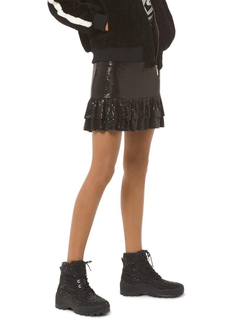 MICHAEL Michael Kors Tiered Metallic Dot-Embellished Skirt