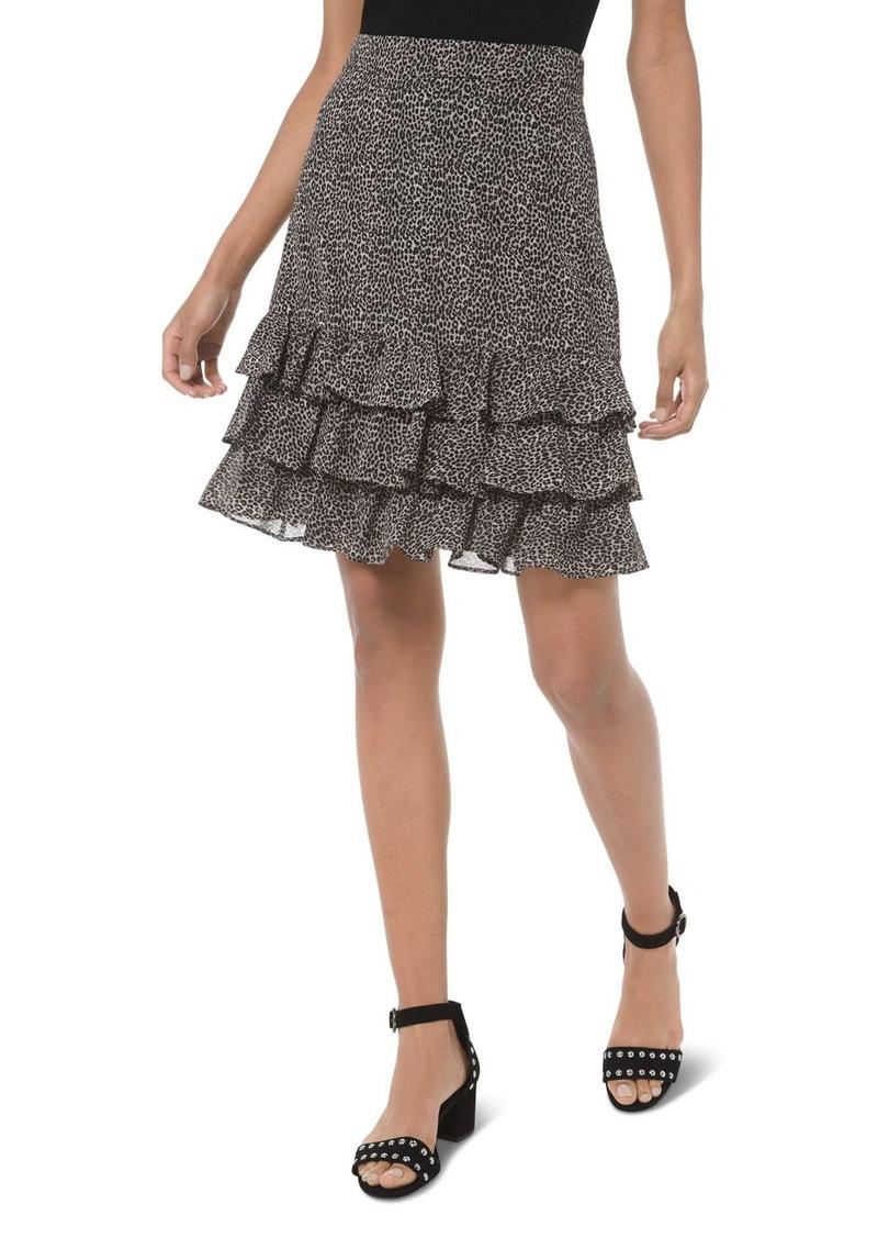 MICHAEL Michael Kors Tiered Ruffled Animal-Print Skirt