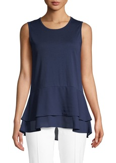 MICHAEL Michael Kors Tiered Sleeveless Cotton Blend Top