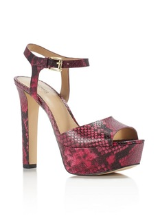 MICHAEL Michael Kors Trish Snake-Embossed Open Toe High Heel Platform Sandals