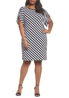 MICHAEL Michael Kors Tulip Sleeve Stripe Dress (Plus Size)