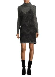 MICHAEL MICHAEL KORS Turtleneck Lace Sweater Dress