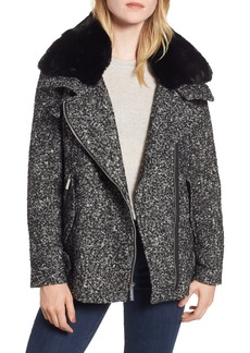 MICHAEL Michael Kors Tweed Faux Fur Trim Moto Jacket