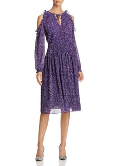 MICHAEL Michael Kors Tweed Print Cold-Shoulder Dress