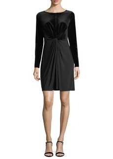 MICHAEL Michael Kors Twist-Front Velvet-Bodice Dress