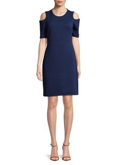 MICHAEL MICHAEL KORS Cube-Stitch Cold-Shoulder Sheath Dress