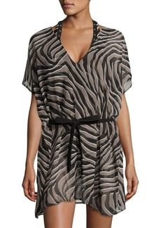 MICHAEL Michael Kors V-Neck Printed Cover-Up Caftan