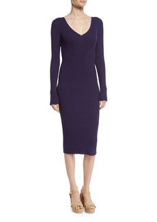 MICHAEL Michael Kors V-Neck Rib-Knit Midi Sweater Dress
