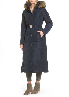 MICHAEL Michael Kors Water Resistant Maxi Puffer Coat with Detachable Hood and Faux Fur Trim