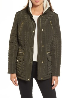 MICHAEL Michael Kors Water Resistant Quilted Anorak with Faux Shearling Trim (Regular & Petite)