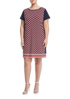 MICHAEL Michael Kors Plus Weave-Print Cap-Sleeve Shift Dress
