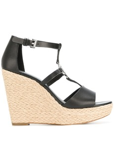 Michael Michael Kors wedge heel logo sandals - Black