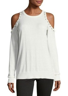 MICHAEL Michael Kors Whipstitch Cold-Shoulder Sweater