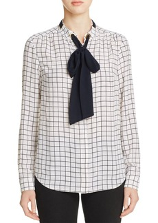 MICHAEL Michael Kors Windowpane Tie-Neck Blouse