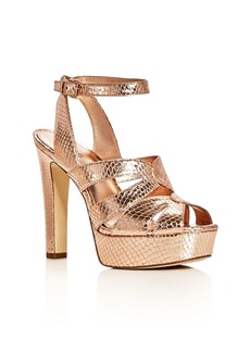 MICHAEL Michael Kors Winona Snake Embossed Metallic High Heel Platform Sandals