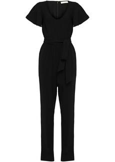 Michael Michael Kors Woman Belted Crepe Jumpsuit Black