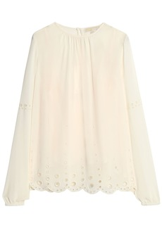 Michael Michael Kors Woman Broderie Anglaise-trimmed Georgette Blouse Ivory