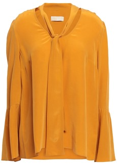 Michael Michael Kors Woman Pussy-bow Washed-silk Blouse Marigold