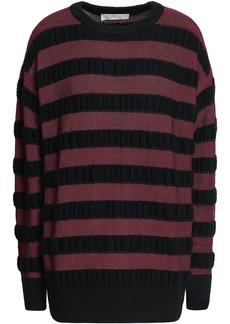 Michael Michael Kors Woman Striped Merino Wool-blend Sweater Merlot