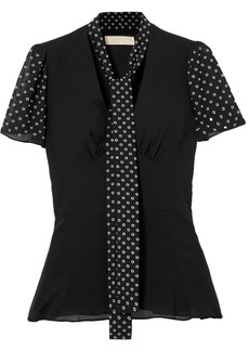 Michael Michael Kors Woman Tie-neck Eyelet-embellished Georgette Top Black