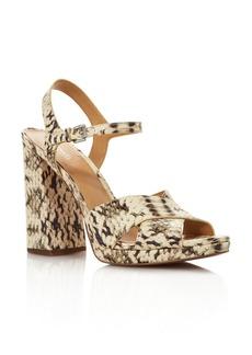 MICHAEL Michael Kors Women's Alexia Snake-Embossed Leather Platform Sandals