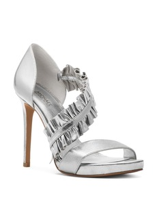 MICHAEL Michael Kors Women's Bella Ruffled Leather Platform High Heel Sandals