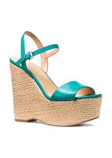 MICHAEL Michael Kors Women's Fisher Leather Platform Wedge Sandals