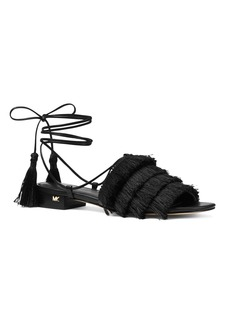 MICHAEL Michael Kors Women's Gallagher Fringed Ankle Tie Sandals