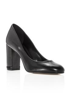 MICHAEL Michael Kors Women's Jamie Leather Block Heel Pumps